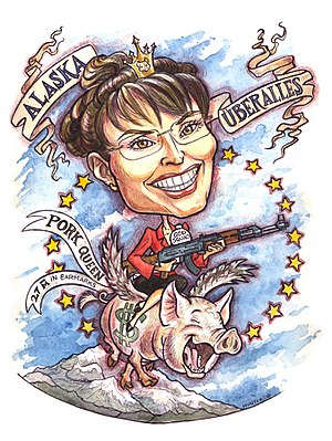 Caricature of American politician Sarah Palin,...