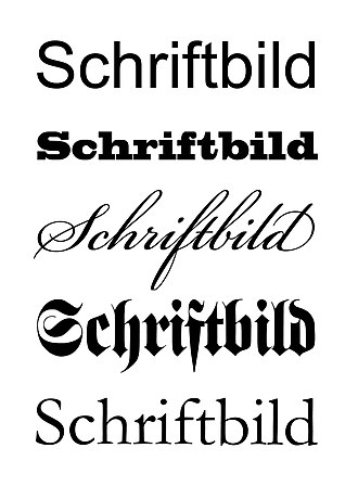 "Font - The word ""Schriftbild"" in five different typefaces (""fonts"")."