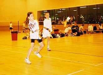 Badminton - A mixed doubles game – Scottish Schools under 12s tournament, Tranent, May 2002