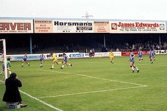 Chester City F.C. - Chester F.C. playing in front of the south stand at Sealand Road, September 1983.