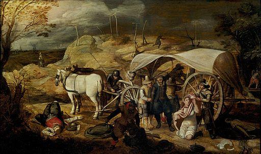 Sebastiaan Vrancx - Soldaten ueberfallen ein Fuhrwerk mit Reisenden