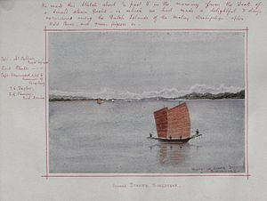 Kangchu system - Chinese junks sailing in the Straits of Johor in 1879