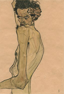 Self-Portrait with Arm Twisted above Head by Egon Schiele
