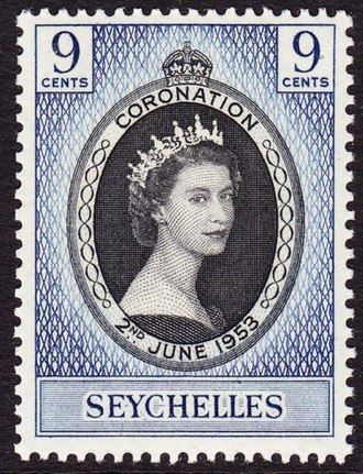 Seychelles - 1953 stamp with portrait of Queen Elizabeth II