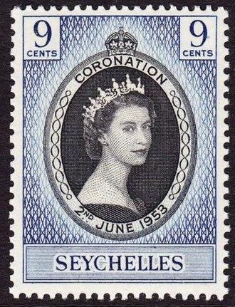 Seychelles - 1953 stamp with portrait of Queen Elizabeth II