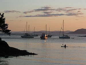 Sucia Island - Sunset over the Shallow Bay anchorage