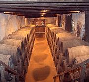 Sherry maturing in oak barrels