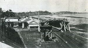 Shinagawa Station - Shinagawa Station in the late 19th century, with the Tokyo Bay shore visible immediately next to the station