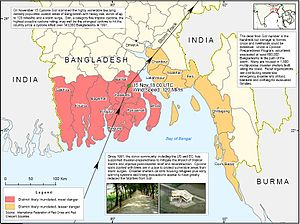Cyclone Sidr - Map showing Sidr affected districts and disaster response.
