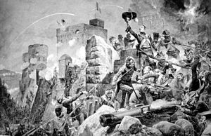"Siege of Badajoz (1812) - ""The Devil's Own"" 88th Regiment at the Siege of Badajoz by Richard Caton Woodville"