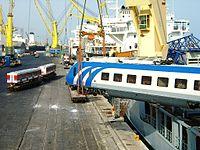 Siemens trains being unloaded in Shahid Rajai Port.jpg