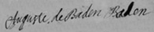 Margravine Auguste of Baden-Baden - Image: Signature of the Duchess of Orléans (Auguste of Baden Baden) at the marriage of Emilie de Breteuil (June 1725)