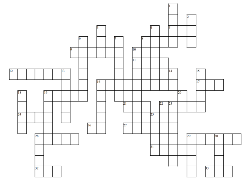 Black-and-white crossword puzzle