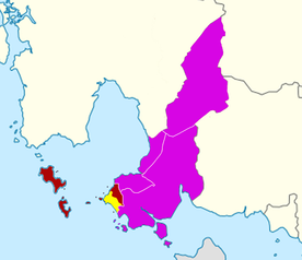 Sihanoukville City's urban area (yellow) in Mittakpheap District (dark red) and Sihanoukville Province (purple)