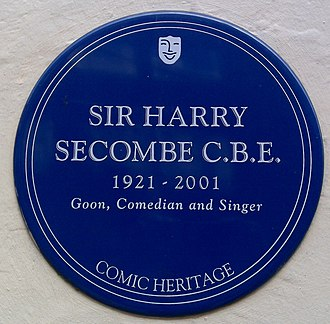 Harry Secombe - A blue plaque commemorating Secombe.