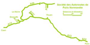Société des Autoroutes de Paris Normandie - SAPN's network of motorways.