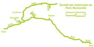 Société des Autoroutes de Paris Normandie - SAPN's network of motorways.