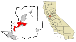 Solano County California Incorporated and Unincorporated areas Fairfield Highlighted.svg