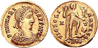 Honorius (emperor) - Solidus of emperor Honorius minted at Ravenna