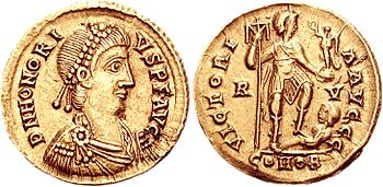Solidus from the year 402 AD with the profile of Honorius