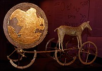 "The Trundholm sun chariot pulled by a horse is believed to be a sculpture illustrating an important part of Nordic Bronze Age mythology. The sun itself was called Alfrodull, meaning ""glory of elves"". Sol was also called Sunna, Sunne and Frau Sunne, which is a derivation of the words sun."