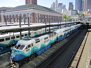 Sound Transit - Sounder trains at Seattle's King Street Station.