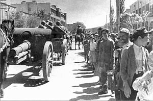 Soviet six horse foot artillery team on the streets of Tabriz.jpg