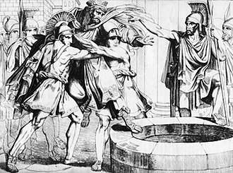 Battle of Thermopylae - The Spartans throw Persian envoys into a well.