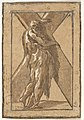 St. Andrew standing in profile view and grasping a monumental cross, chiaroscuro woodcut in green and brown, from a series of twelve apostles after Parmigianino MET DP832079.jpg