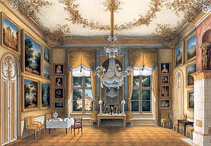 Interior portrait - The yellow salon of Queen Louise of Prussia in the City Palace, Potsdam (c.1840), by Friedrich Wilhelm Klose (1804–1863)