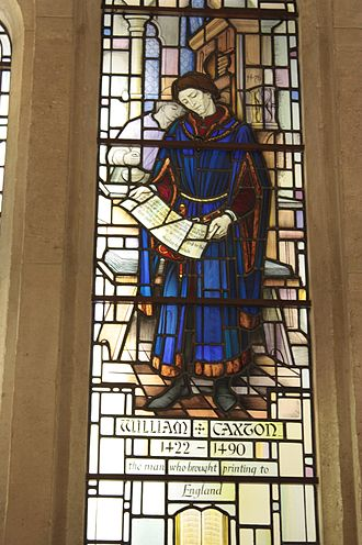 William Caxton - Stained glass to William Caxton, Guildhall, London
