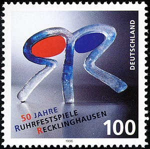 Ruhrfestspiele - Ruhrfestspiele logo on a 1996 German stamp, celebrating 50 years