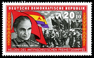 Heinrich Rau - Heinrich Rau on a stamp commemorating the Spanish Civil War