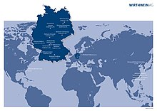 World map with markings for the companies of the Wirthwein Group