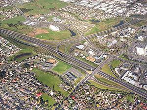Manukau - State Highway 1 - State Highway 20 interchange
