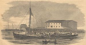 William Armstrong (Canadian artist) - Explosion of the steamboat Inkermann at Browne's Wharf on the Toronto waterfront, on 29 May 1857 in Toronto, Ontario, Canada; engraving of a William Armstrong image, published in Frank Leslie's Illustrated Newspaper of New York