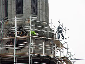 Steeplejack - A steeplejack at work.