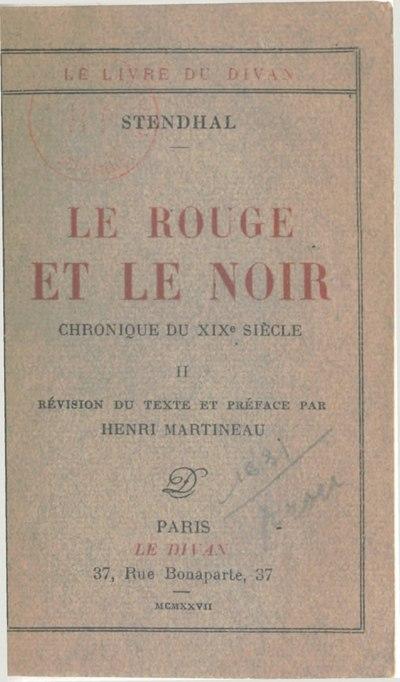 File:Stendhal - Le Rouge et le Noir, II, 1927, éd. Martineau.djvu