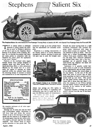 Moline Plow Company - An overview of the Stephens Salient Six automobile, built by the Stephens division of the Moline Plow Company, in the journal Horseless Age, 1918.