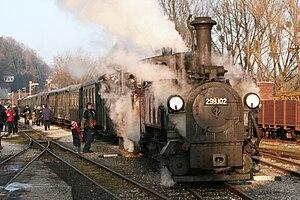 Steyr Valley Railway - A train of the Steyr Valley Railwayat the station stop in Grünburg on December 31, 2008.