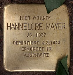 Photo of Hannelore Mayer brass plaque