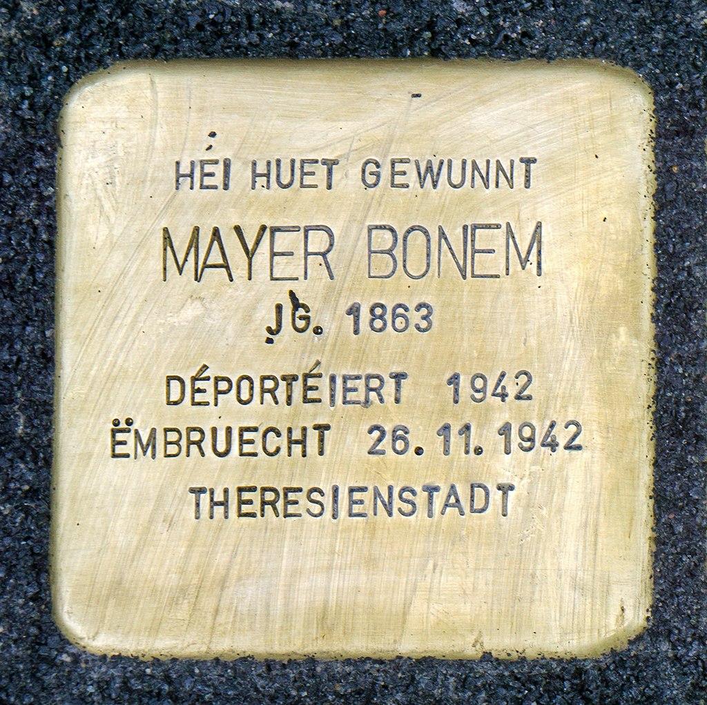 Stolpersteine Mayer Bonem Mondorf-les-Bains, 42 rue du Moulin 01.jpg