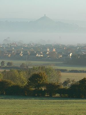 Street, Somerset - Street and Glastonbury Tor taken from Walton Hill