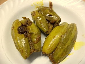 Trichosanthes dioica - Cooked stuffed fruit