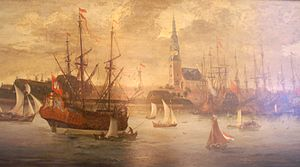 Johann Adam Reincken - Detail of a painting of Hamburg by Leopoldus Primus,  ca. 1700. St. Catherine's Church is visible in the background.