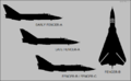 Sukhoi Su-24 Fencer-A (early), Fencer-A (late), and Fencer-B-C silhouette comparison.png