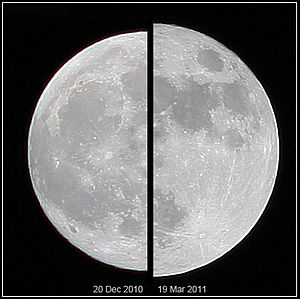 Supermoon - The supermoon of March 19, 2011 (right), compared to a more average moon of December 20, 2010 (left), as viewed from Earth