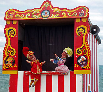 Punch and Judy - A traditional Punch and Judy booth, at Swanage, Dorset, England