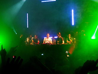 House music - Swedish House Mafia and Italian DJ Benny Benassi performing in 2011.