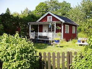 Småland - Farmhouses in Småland are typically red with white corners.